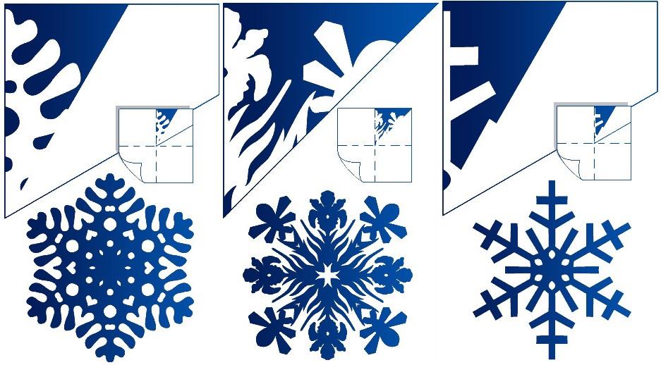 Простые снежинки из бумаги своими руками схема