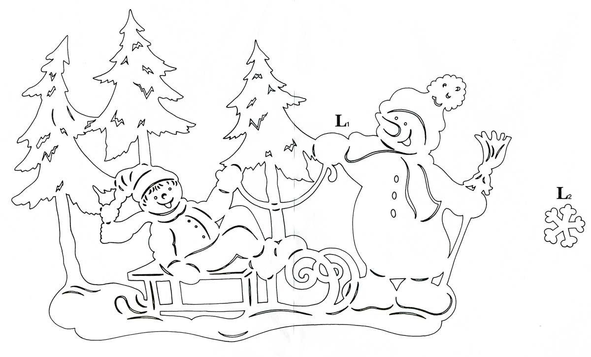трафарет для окон на новый год дед мороз