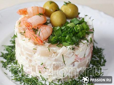 """Слоёный салат """"Морской прибой"""""""