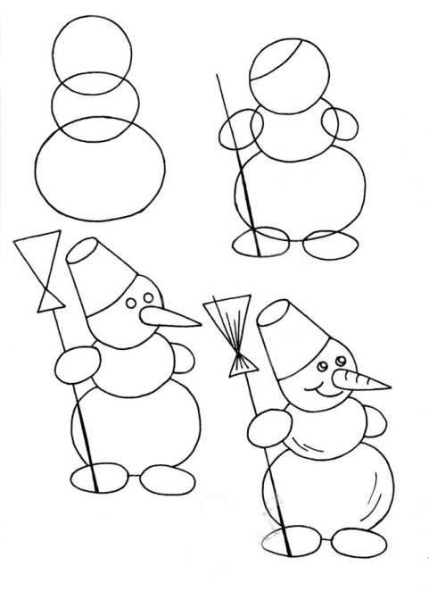 Как нарисовать снеговика на Новый год 2017?